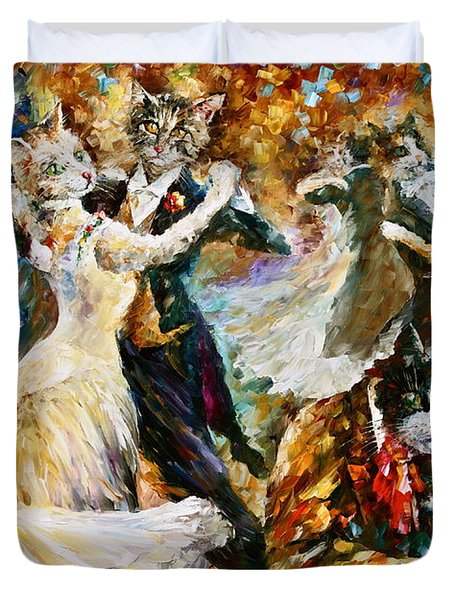 Dance Ball Of Cats  Duvet Cover by Leonid Afremov