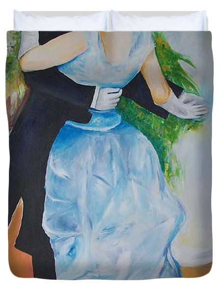 Duvet Cover featuring the painting Dance In The City  by Eric  Schiabor