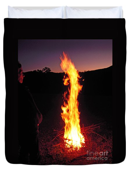 Woman In The Fire Duvet Cover