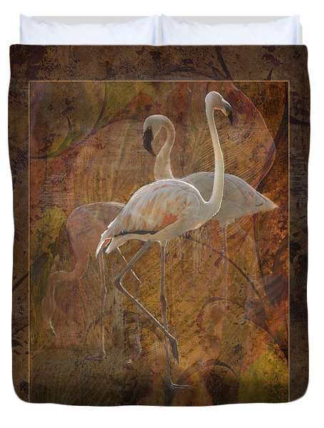 Dance Of The Flamingos Duvet Cover