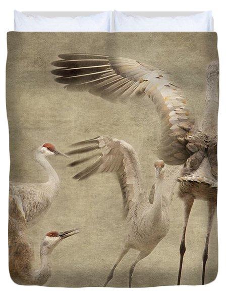 Dance Of The Sandhill Crane Duvet Cover