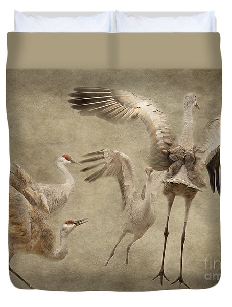 Dance Of The Sandhill Crane Duvet Cover