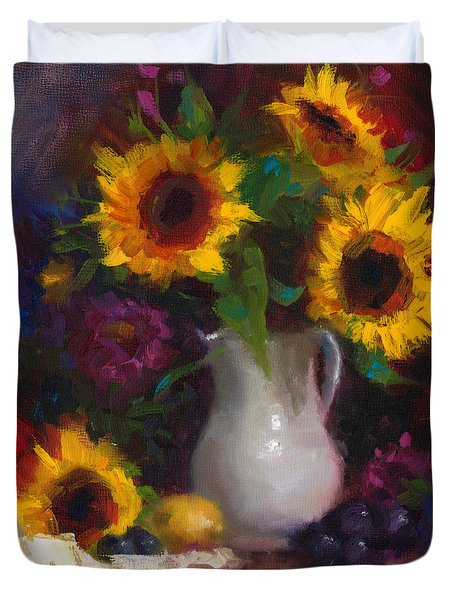 Dance With Me - Sunflower Still Life Duvet Cover