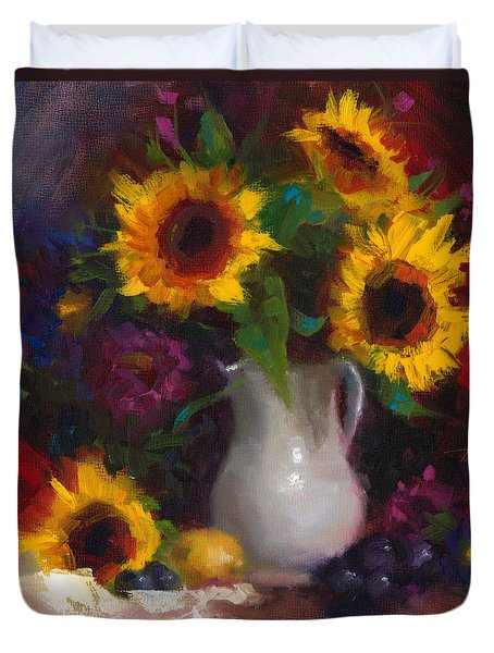 Duvet Cover featuring the painting Dance With Me - Sunflower Still Life by Talya Johnson
