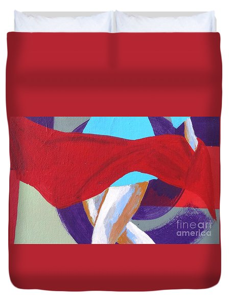 Dance With The Red Scarf Duvet Cover