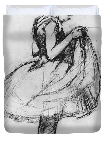 Dancer Adjusting Her Costume And Hitching Up Her Skirt Duvet Cover by Henri de Toulouse-Lautrec