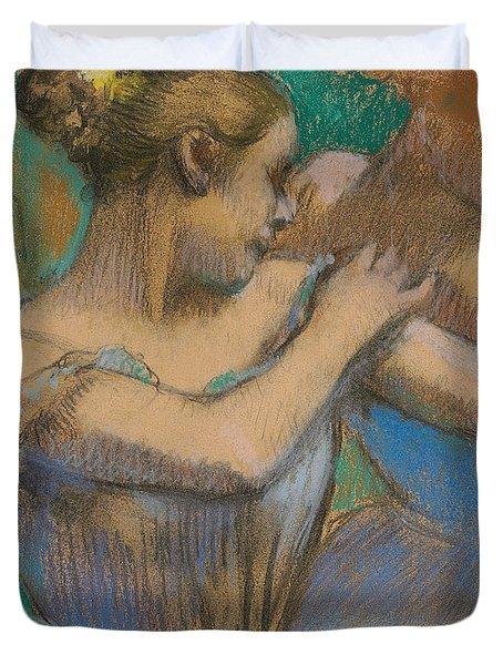 Dancer Adjusting Her Shoulder Duvet Cover by Edgar Degas