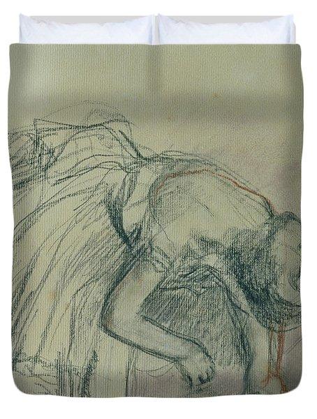 Dancer Fixing Her Slipper Duvet Cover