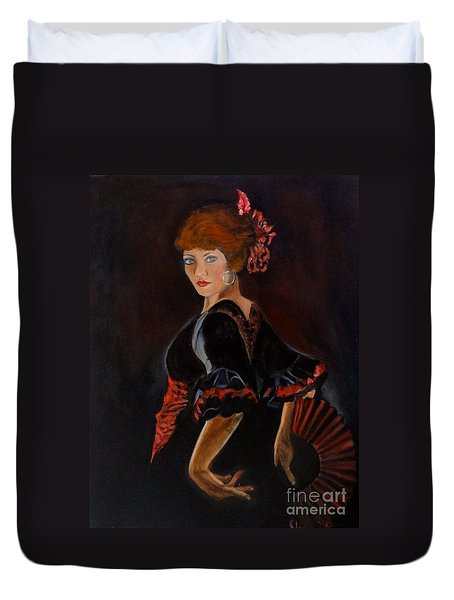 Duvet Cover featuring the painting Dancer by Jenny Lee