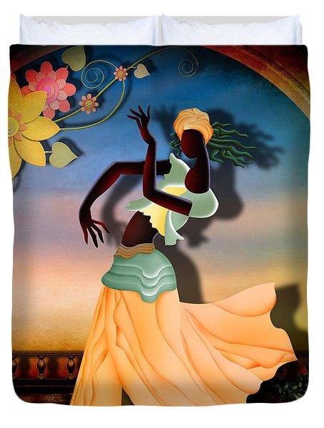 Dancer Of The Balcony Duvet Cover by Bedros Awak