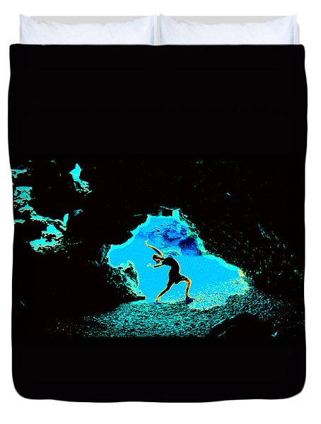Duvet Cover featuring the photograph Dancer On The Edge Of Time by Susanne Still