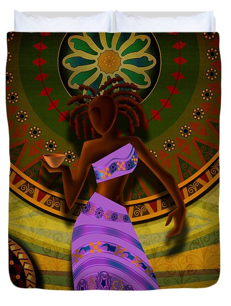 Dancer With Cup Duvet Cover by Bedros Awak
