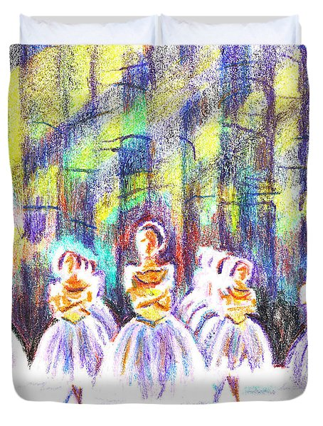 Dancers In The Forest Duvet Cover