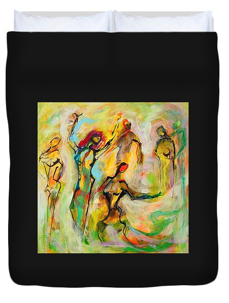 Dancers Duvet Cover by Mary Schiros