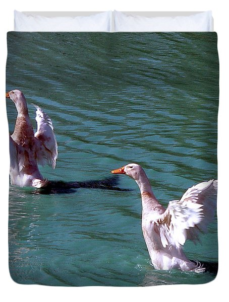 Duvet Cover featuring the photograph Dances On Water by Lesa Fine