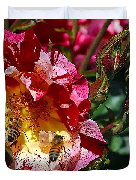 Dancing Bees And Wild Roses Duvet Cover by Absinthe Art By Michelle LeAnn Scott