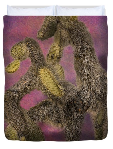 Dancing Cactus Pair In Galapagos Islands Duvet Cover by Angela A Stanton