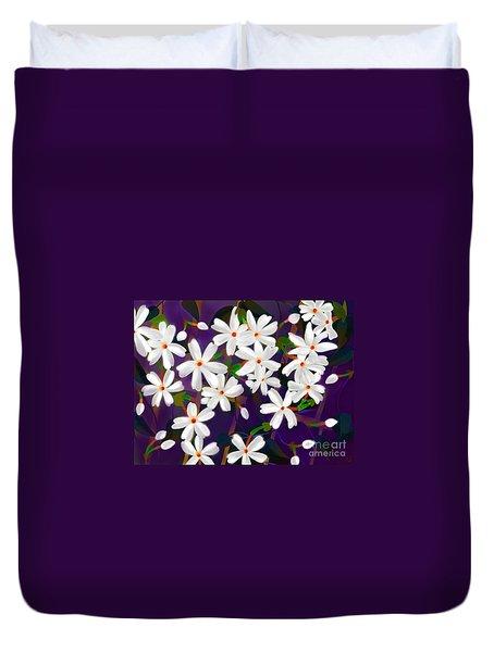 Duvet Cover featuring the digital art Dancing Coral Jasmines by Latha Gokuldas Panicker