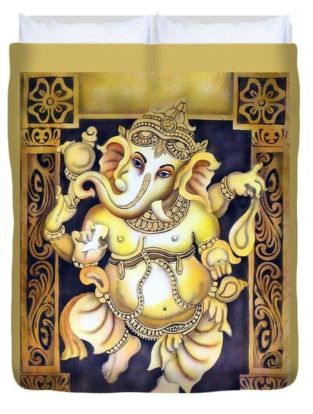 Dancing Ganesh Duvet Cover by Vishwajyoti Mohrhoff