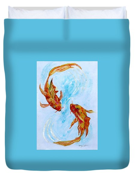 Dancing Koi Sold Duvet Cover
