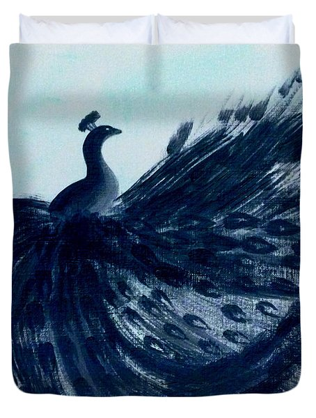 Duvet Cover featuring the digital art Dancing Peacock Aqua by Anita Lewis