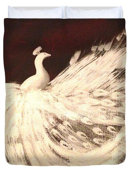 Duvet Cover featuring the painting Dancing Peacock Cream by Anita Lewis