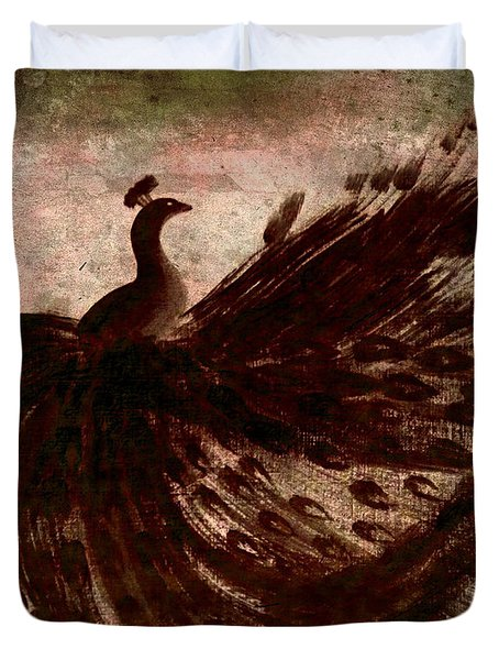 Duvet Cover featuring the painting Dancing Peacock Grey by Anita Lewis