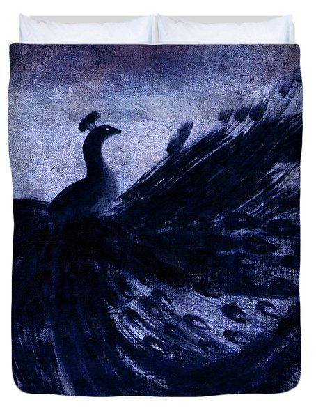Duvet Cover featuring the painting Dancing Peacock Navy by Anita Lewis
