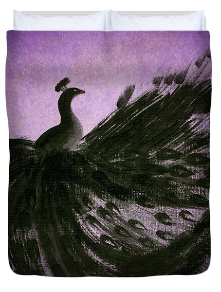 Duvet Cover featuring the digital art Dancing Peacock Vivid Purple by Anita Lewis