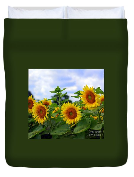 Dancing Sunflowers Duvet Cover by Kathleen Struckle