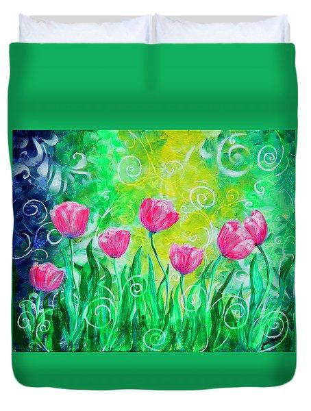 Dancing Tulips Duvet Cover