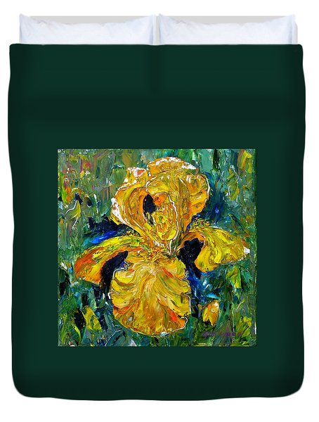 Dancing Yellow Iris Duvet Cover