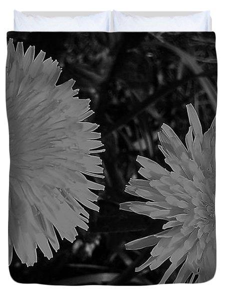 Dandelion Weeds? B/w Duvet Cover by Martin Howard