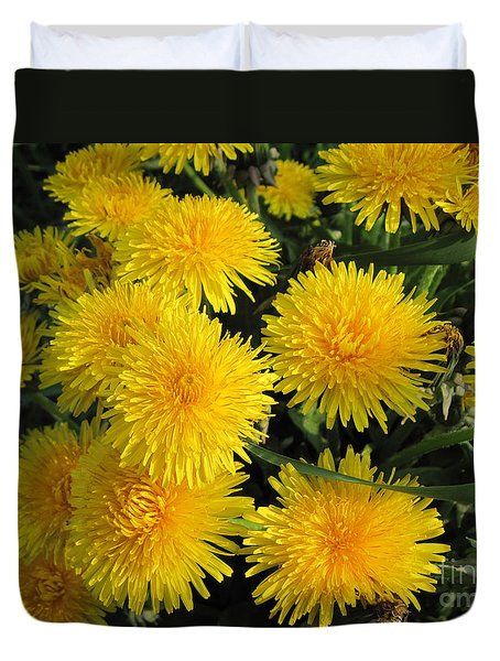 Dandelions In Macro Duvet Cover