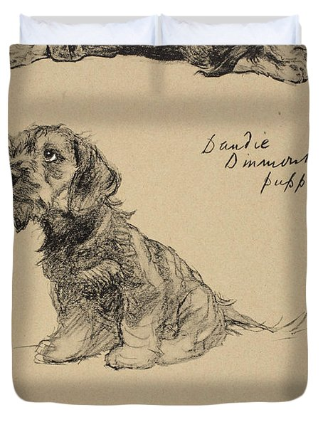 Dandie Dinmont Puppies, 1930 Duvet Cover by Cecil Charles Windsor Aldin
