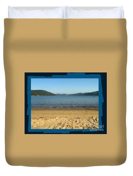 Duvet Cover featuring the photograph Dangar Island Beach - With Border by Leanne Seymour
