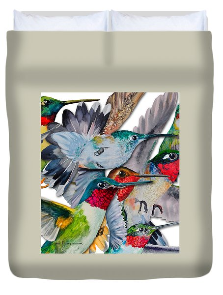 Da133 Hummingbirds By Daniel Adams Duvet Cover