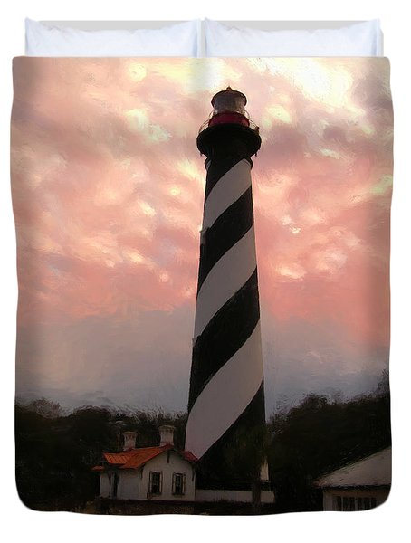 Da127 St. Augustine Lighthouse By Daniel Adams Duvet Cover