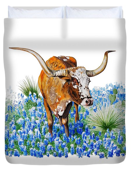 Da102 Longhorn And Bluebonnets Daniel Adams Duvet Cover