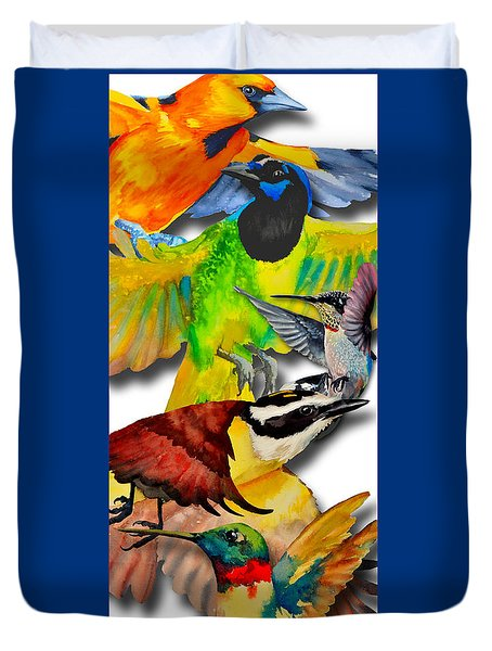 Da131 Multi-birds By Daniel Adams Duvet Cover
