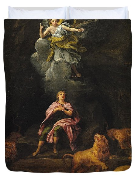 Daniel In The Den Of Lions Oil On Canvas Duvet Cover