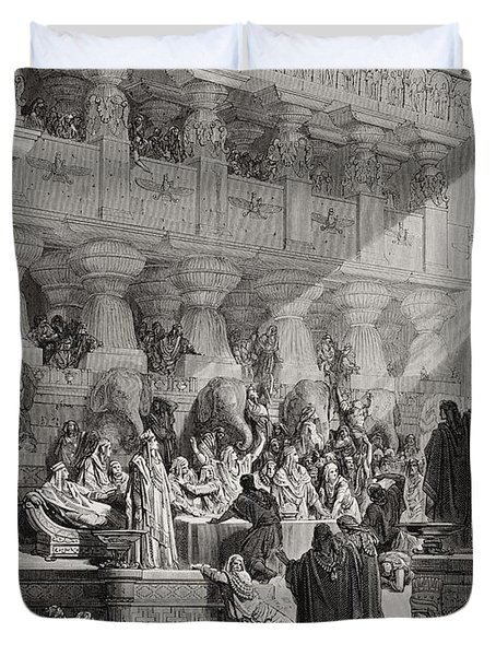 Daniel Interpreting The Writing On The Wall Duvet Cover by Gustave Dore