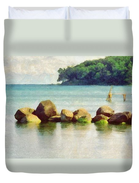 Danish Coast On The Rocks Duvet Cover by Jeffrey Kolker