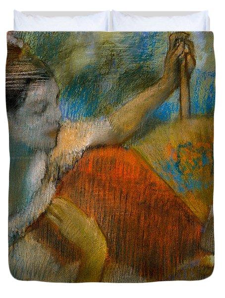Danseuse A L'eventail Duvet Cover by Edgar Degas
