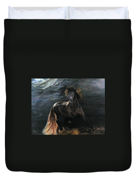 Duvet Cover featuring the painting Dappled Horse In Stormy Light by LaVonne Hand