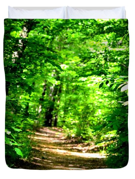 Dappled Sunlit Path In The Forest Duvet Cover by Maria Urso