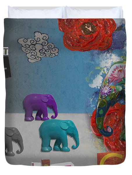 Dare To Live In Color Duvet Cover by Nola Lee Kelsey