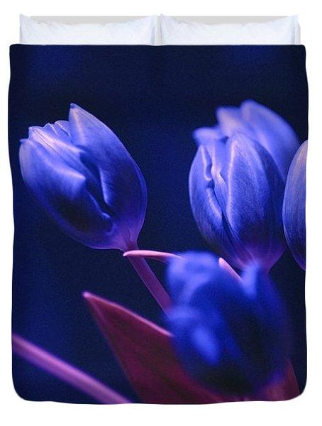 Dark Blue Tulips Duvet Cover