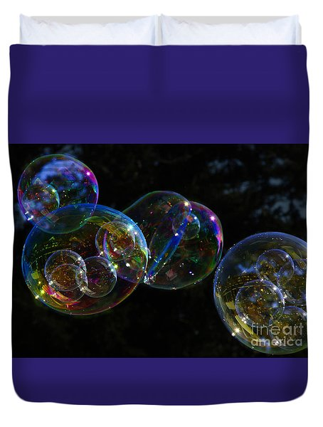 Dark Bubbles With Babies Duvet Cover by Nareeta Martin