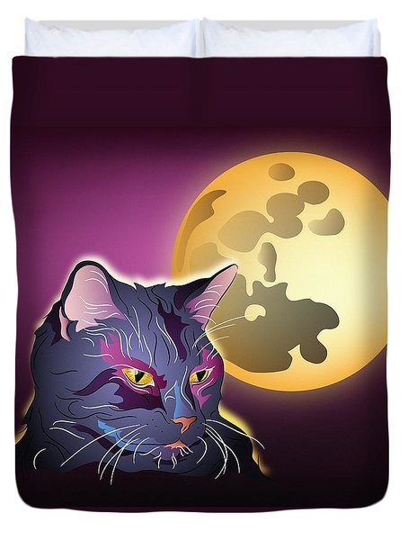 Duvet Cover featuring the digital art Dark Cat And Full Moon by MM Anderson